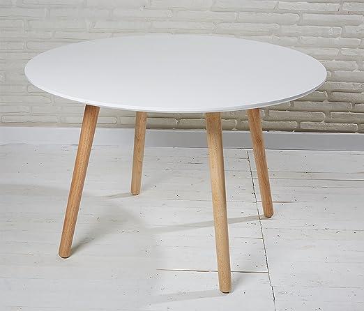 Wholesaler GmbH Esszimmertisch Esstisch rund 110 cm weiß Natur Retro Design runder Tisch Küchentisch in skandinavischem Stil