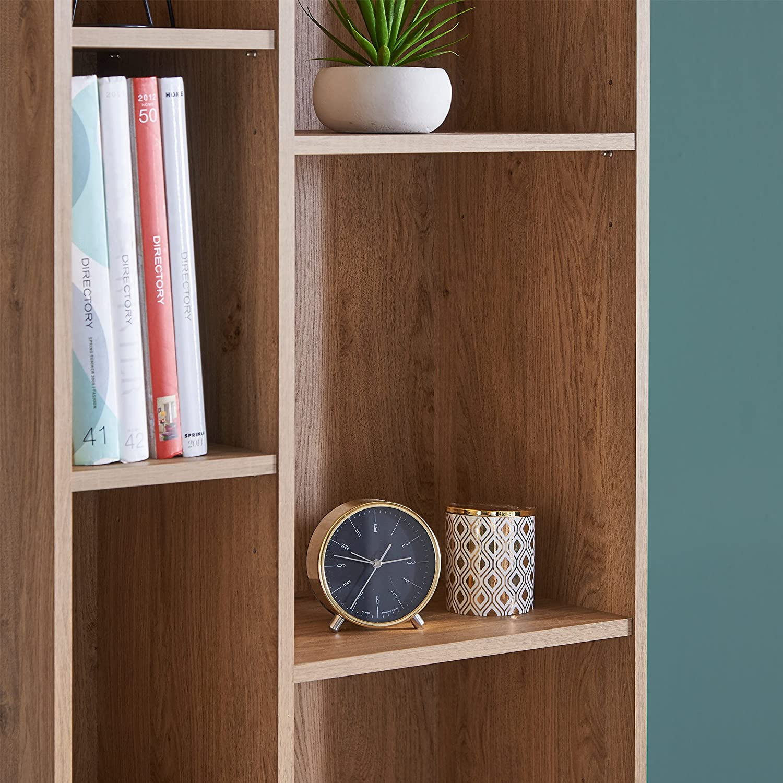 Vintage Scandi Split Shelving Bookshelf Unit Oak effect finish Retro Style VonHaus Capri Bookcase Study or Hallway Furniture Lounge Living Room Dining