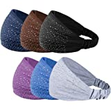 6 Pcs: HBY Solid Color Sparkling Cotton Multi-Style Headbands for Women Sports or Fashion