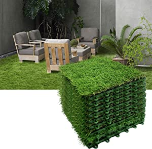 Reliancer 9PCS Artificial Grass Turf Interlocking Grass Tile Lawn Rug for Dogs Puppy Potty Pads Pet Synthetic Square Grass Carpet Golf Mat Outdoor Landscaping Indoor Flooring Decor 12''x12''