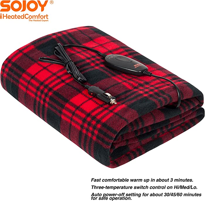 "SOJOY 12V Heated Smart Multifunctional Travel Electric Blanket for Car, Truck, Boats or RV with High/Low Temp Control (60""x 40"") (Checkered Black & Burgundy)"