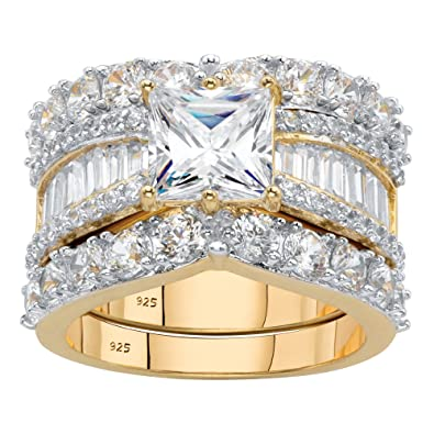 Amazon Com 14k Yellow Gold Over Sterling Silver Princess Cut Cubic