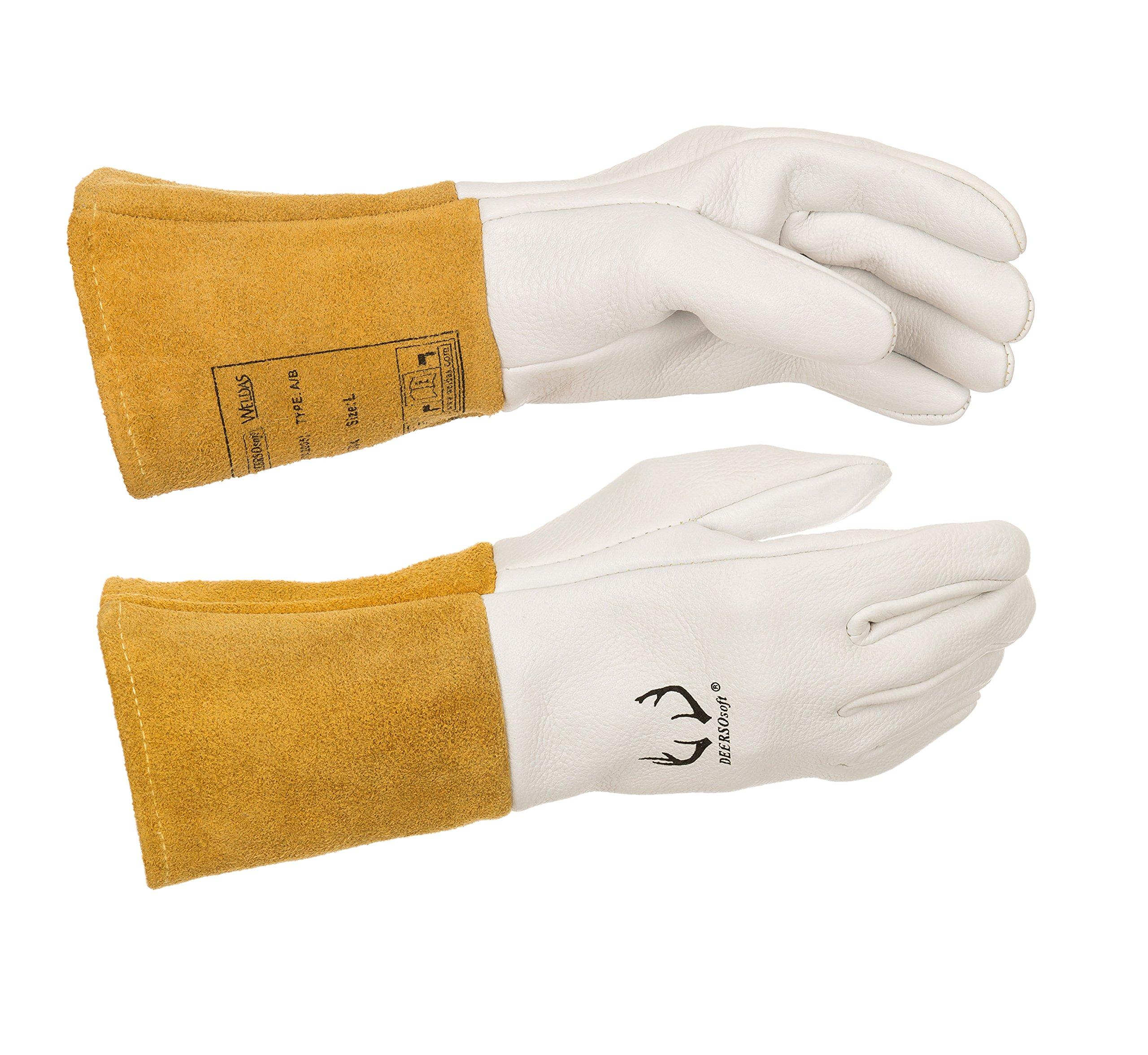 (12 PAIRS) Weldas DEERSOsoft Pearl Grain Deerskin, 4'' Cowhide Cuff - Welding MIG/TIG Gloves - Kevlar Sewn - Size L