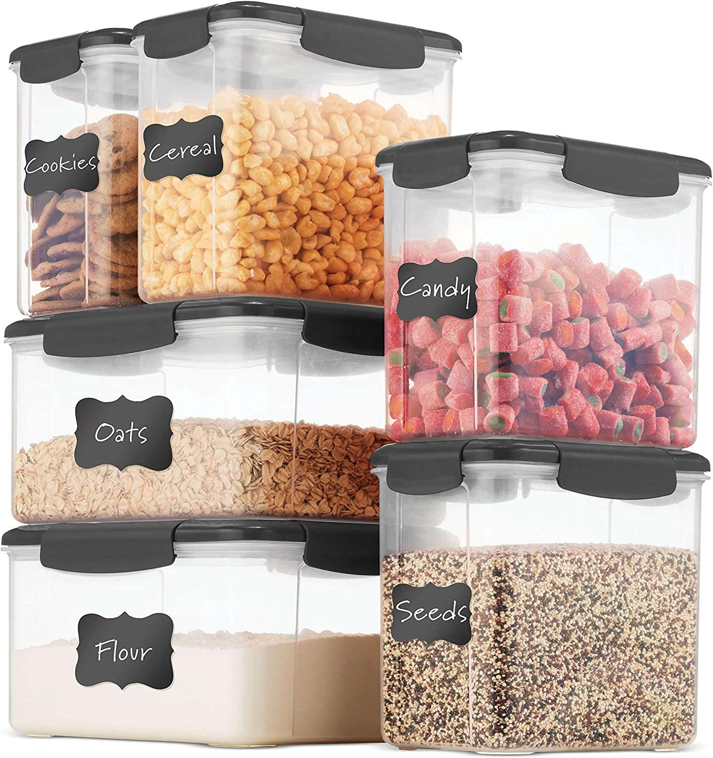 Airtight Food Storage Containers With Lids [6 Piece] BPA Free & 100% Leak Proof Food Containers Set - Dry Food Storage Container Set For Cereal, Flour, Sugar, Coffee, Rice, Nuts, Snacks, Pet Food