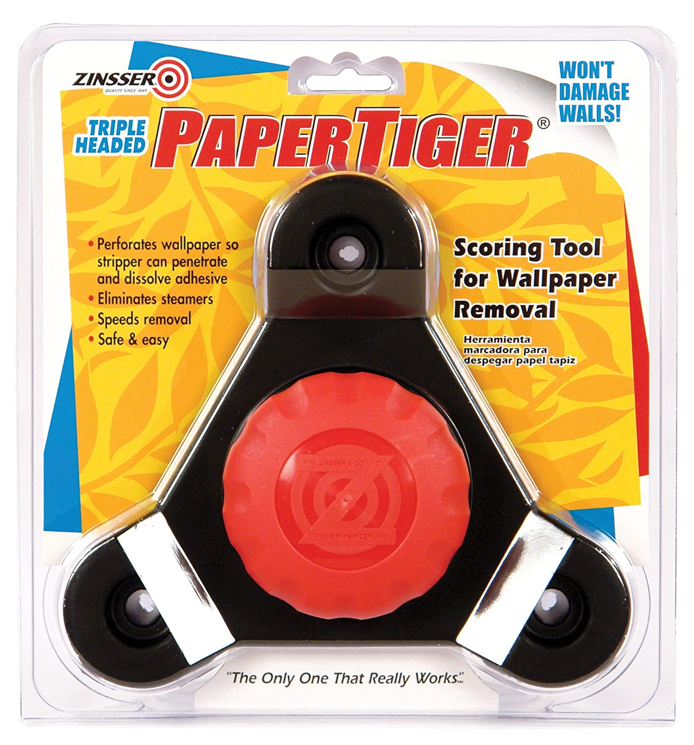 Zinsser 2976 papertiger scoring tool for wallpaper removal triple head wallpaper hand tools amazon com