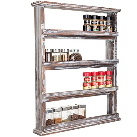 Amazoncom Mygift Rustic Torched Wood Wall Mounted 4 Tier Spice