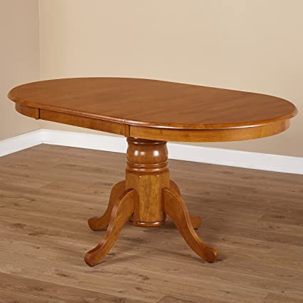 Amazoncom Simple Living Oak Rubberwood Round Oval Farmhouse - Oval dinner table