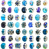TOAOB 50 Piece Assorted Lampwork Murano Glass Beads Rhinestone Metal European Beads Fit Snake Style Charm Bracelet