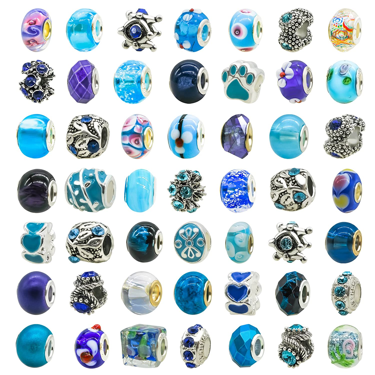 TOAOB 50 Piece Assorted Lampwork Murano Glass Beads Rhinestone Metal European Beads Fit Snake Style Charm Bracelet LLZ00181H