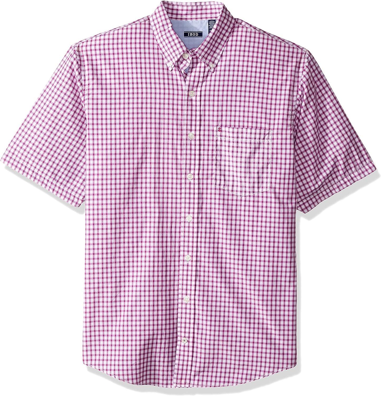 IZOD Mens Big and Tall Breeze Short Sleeve Button Down Gingham Shirt