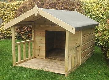 Caseta de madera para perros Apex de calidad 4 x 3 + 2 ft frontal veranda