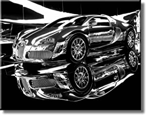 Dream Car Bugatti Picture on Stretched Canvas, Wall Art Décor, Ready to Hang