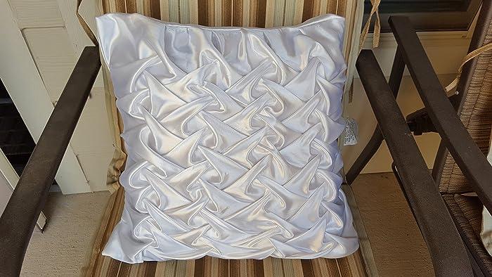 Amazon com: satin white decorative pillow cover hand made