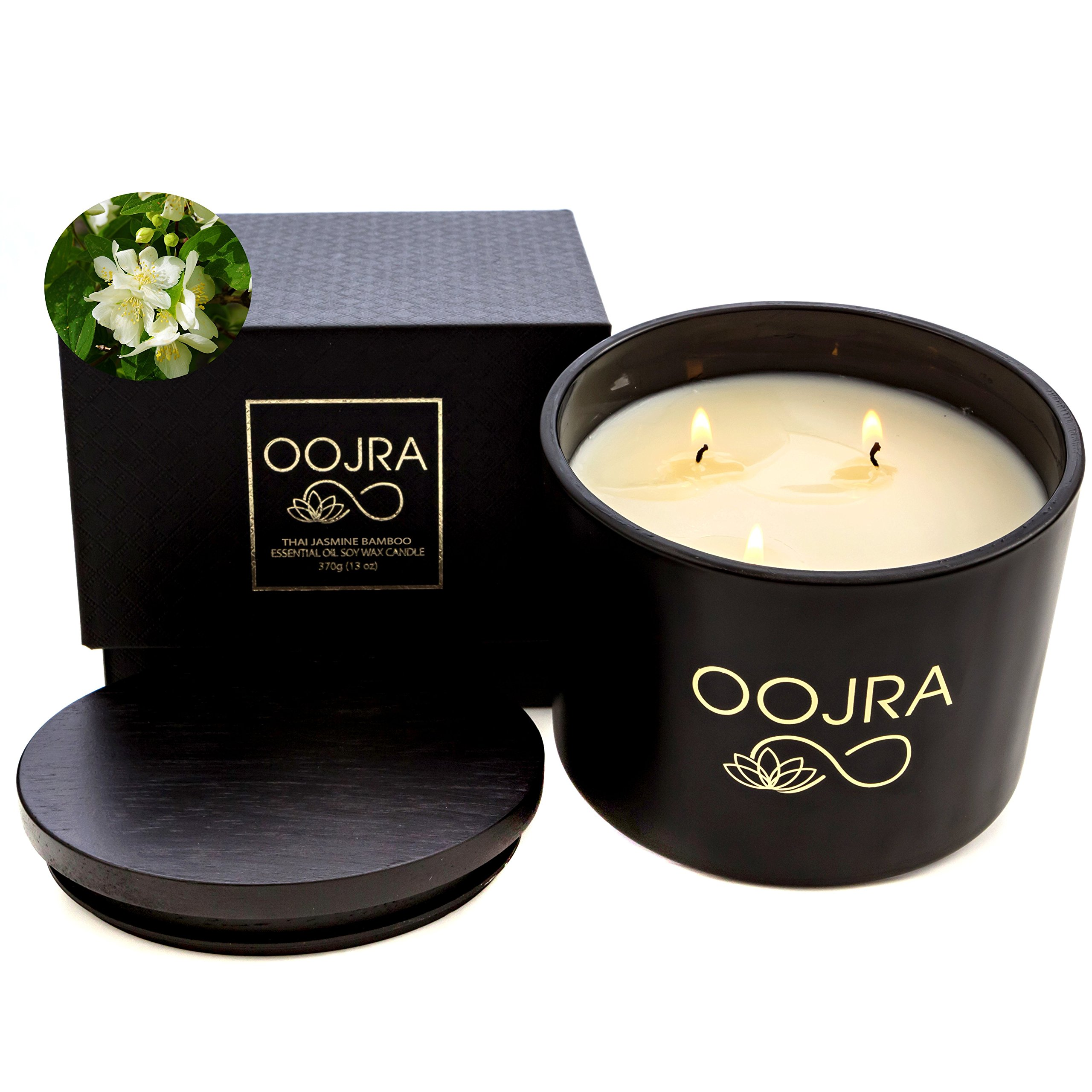 OOJRA Essential Oil Thai Jasmine Bamboo Scented Soy Wax Luxury Candle 3 Wick 13 oz (370g) 75+ hours with Lid and Gift Box by OOJRA