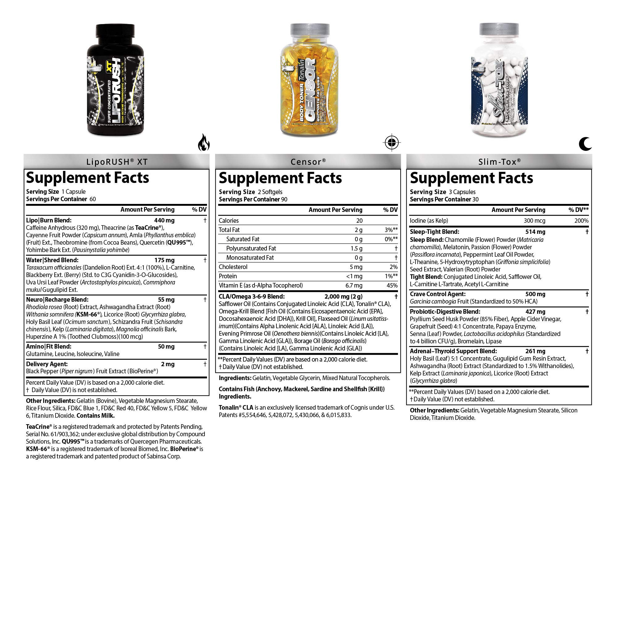 NDS Nutrition LeanForm24 - Weight Loss, Decrease Appetite, Energy Booster - Maximum Strength Diet Kit with L-Carnitine and CLA - LipoRush XT 60 Capsules - Censor 180 Softgels - Slim-Tox 90 Capsules by LeanForm24 (Image #2)