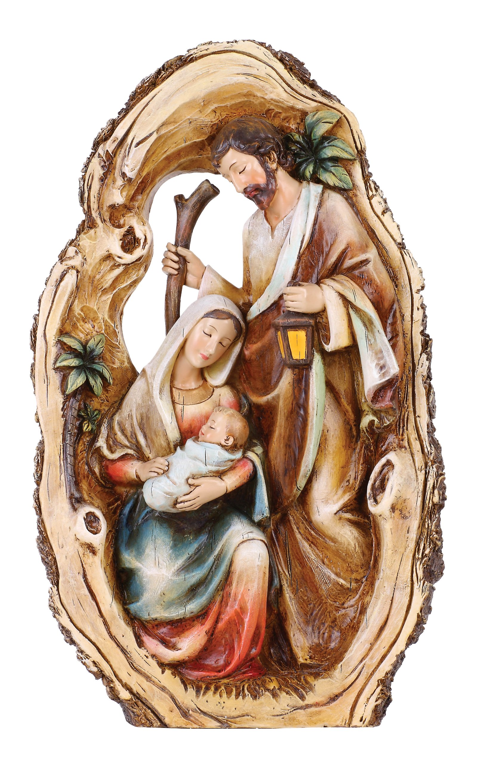 Joseph's Studio by Roman Holy Family in Log Sculpture, 10-1/4-Inch