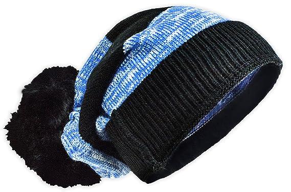 e352d1b0527 Versace 19.69 Faux Fur Trim Stripe 2-in-1 Cuff Hat - Black   Blue ...