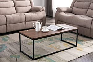 Bonzy Home End Nesting Side Coffee Table for Living Room Bedroom Rustic Industrial Wooden with Metal Frame Vintage Nut-Brown
