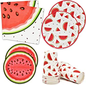 """Watermelon Party Supplies Tableware Set 24 9"""" Plates 24 7"""" Plate 24 9 Oz. Cups 50 Lunch Napkins Pink Green Melon Fruit Slice Disposable Paper Goods for Summer Picnic Baby Shower & Birthday Party Décor"""