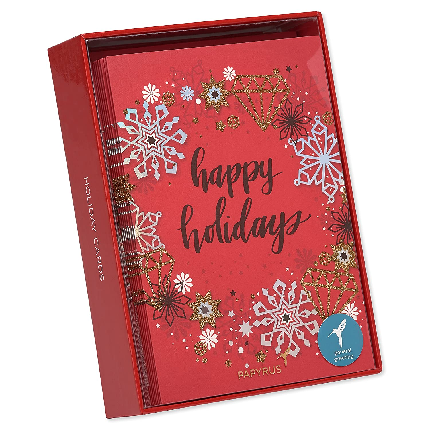 Amazon.com: Papyrus Contemporary Wreath Holiday Cards Boxed with ...