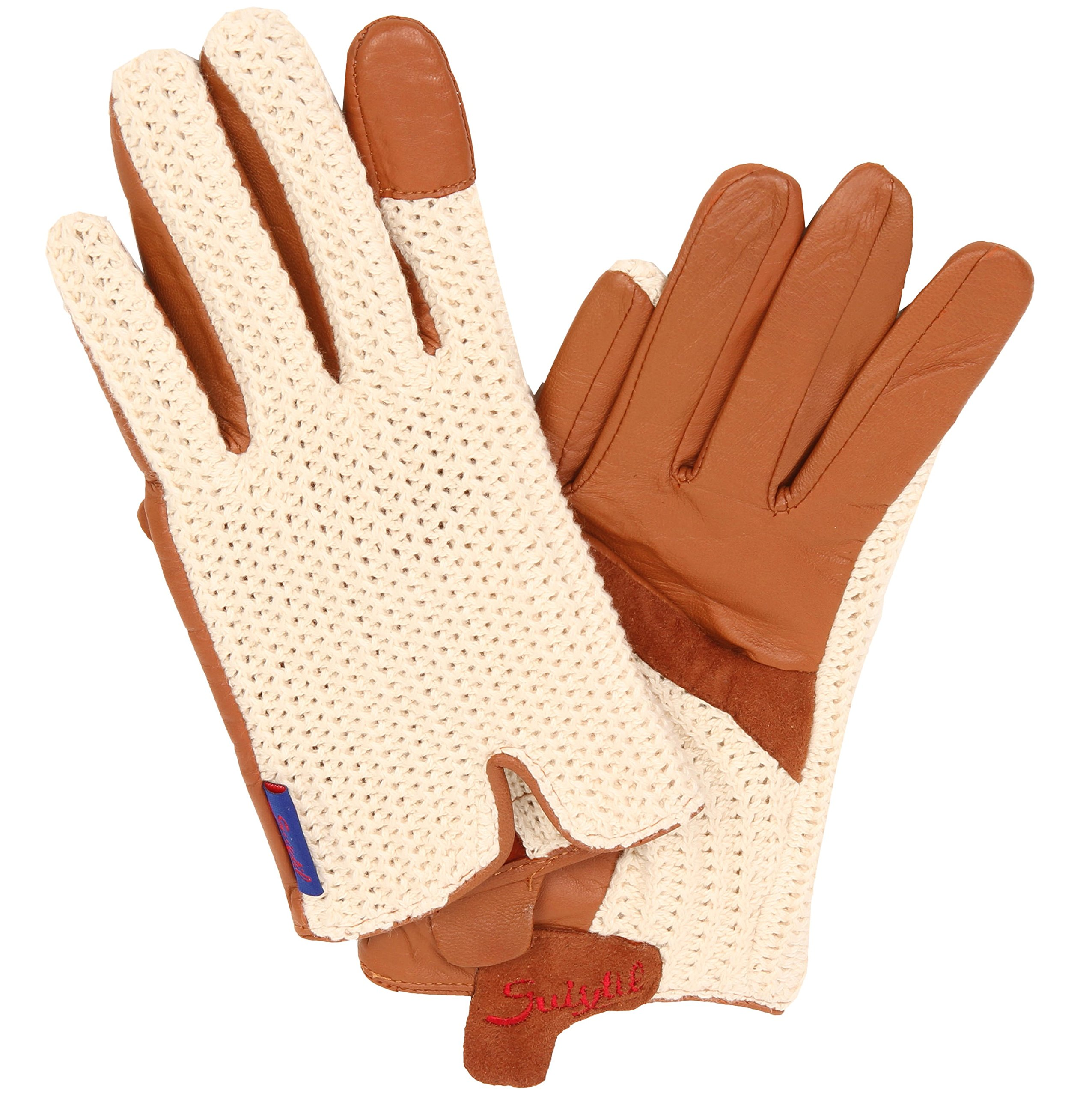Suixtil Grand Prix Race lamb leather & knitted cotton Driving Gloves, Cognac, M by Suixtil (Image #1)