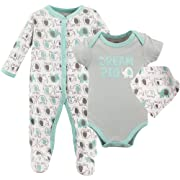 Luvable Friends Baby Sleeper, Bodysuit and Bandana Bib Set, Elephants, 6-9 Months (9M)