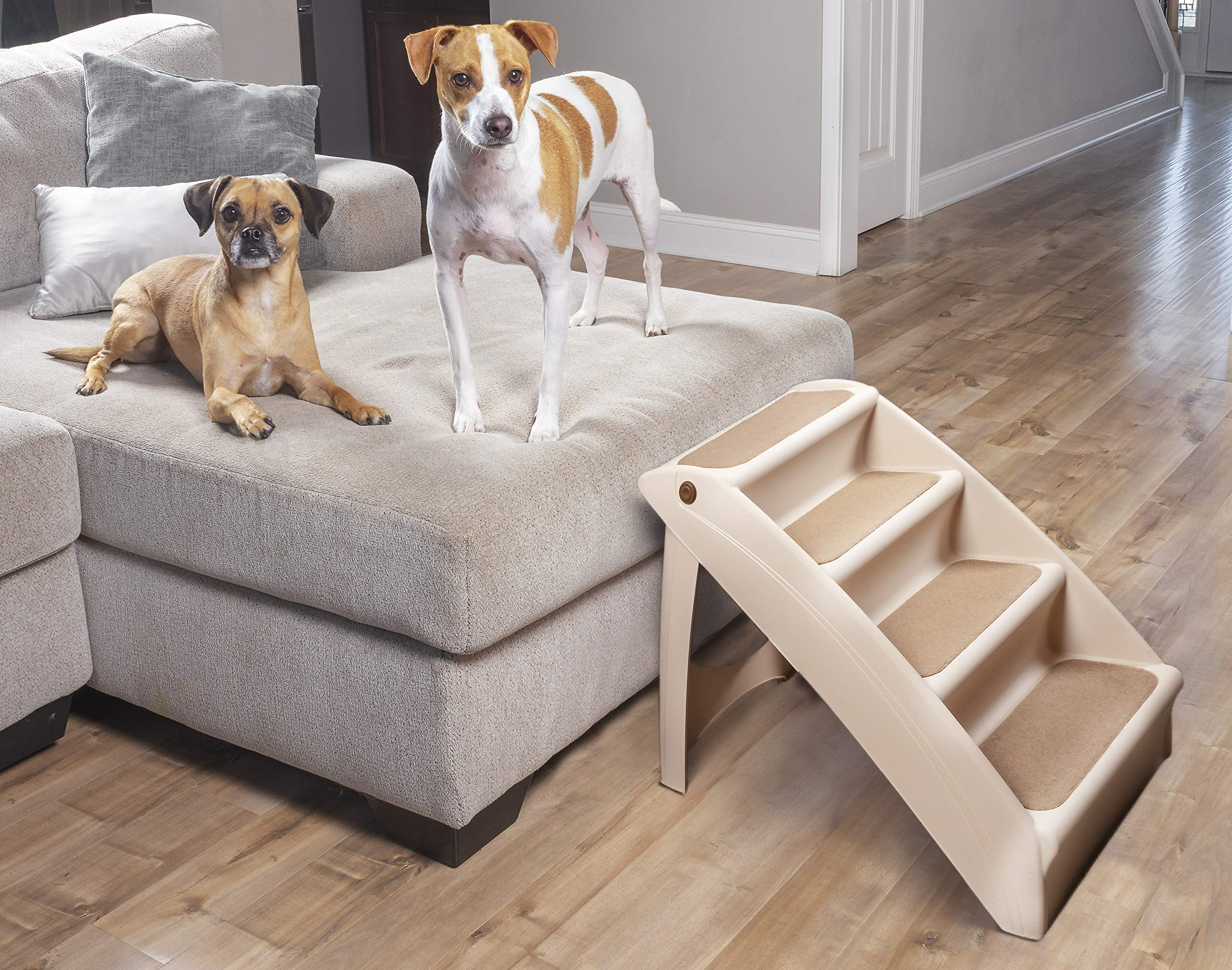 dog supplies online petsafe solvit pupstep plus pet stairs, foldable steps for dogs and cats, best for small to medium pets