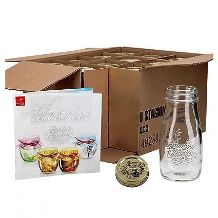 Conjunto de 12 tarros botella 0, incluye recetas Bormioli 40l - como zumos Smoothie bebidas