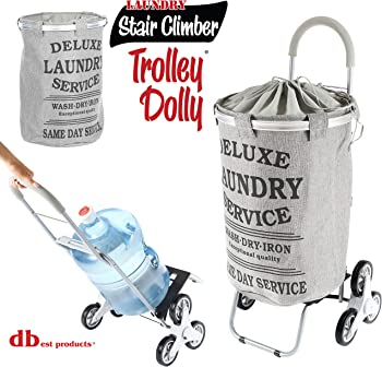 dbest products Stair Climber Laundry Trolley Dolly, Grey Laundry Bag Hamper Basket