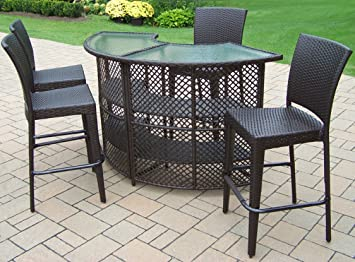 Oakland Living Elite Resin Wicker Half Round 5 Piece Bar Set