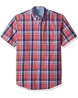 IZOD Men's Big and Tall Short Sleeve Saltwater Plaid Shirt