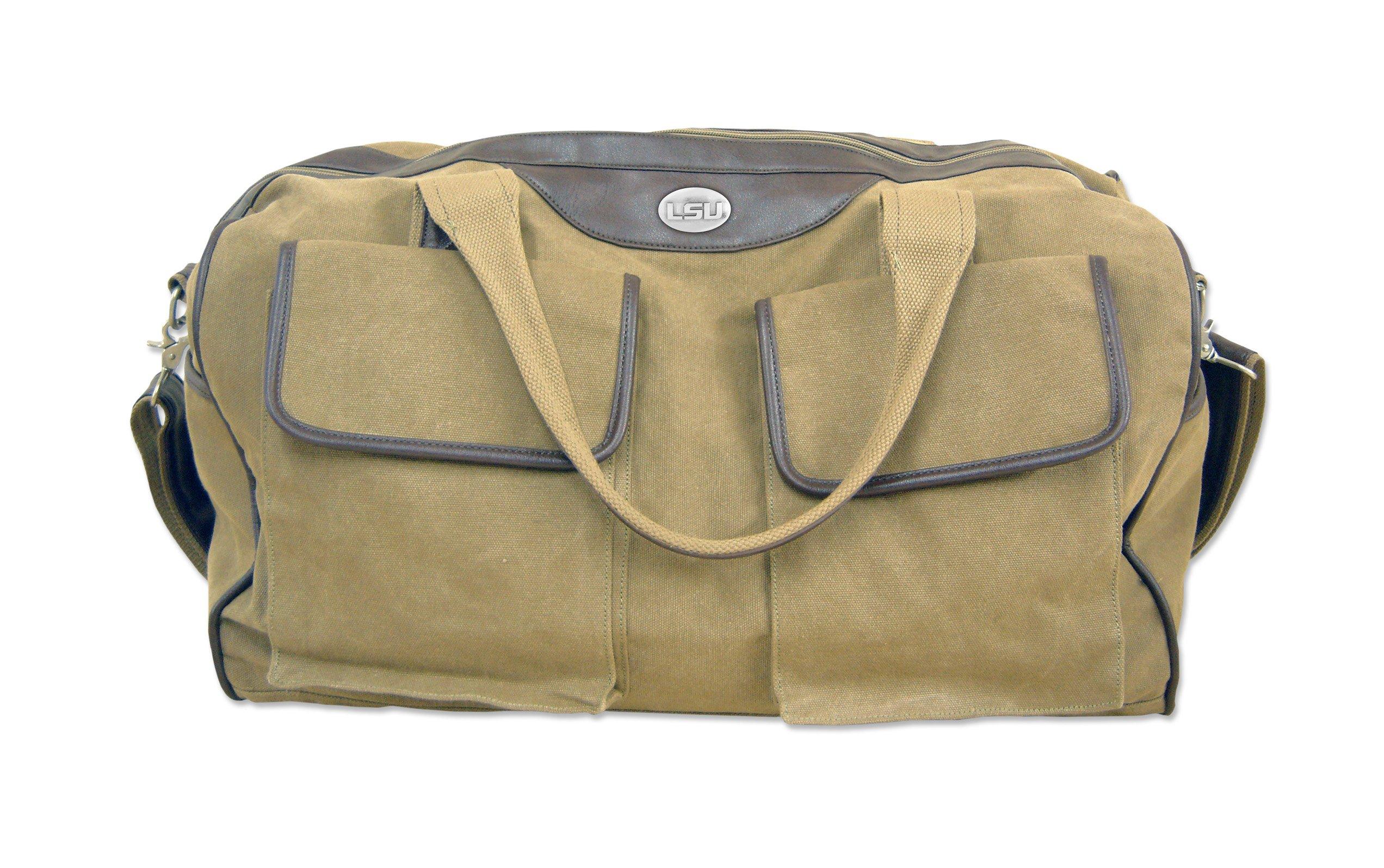 NCAA LSU Tigers Men's Canvas Concho Duffel Bag, Khaki, One Size by ZEP-PRO (Image #1)