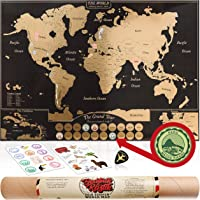 Gold Scratch Off World Map Poster - with US States & Canadian Provinces. A Travel Journal for your Wall! 24 Scrapbook Stickers & Bucket List. Fun Gifts for Graduation or Teachers. World Traveller Decor by Beatnik & Rustic