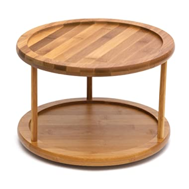 Lipper International 8302 Bamboo Wood 2-Tier 10  Kitchen Turntable