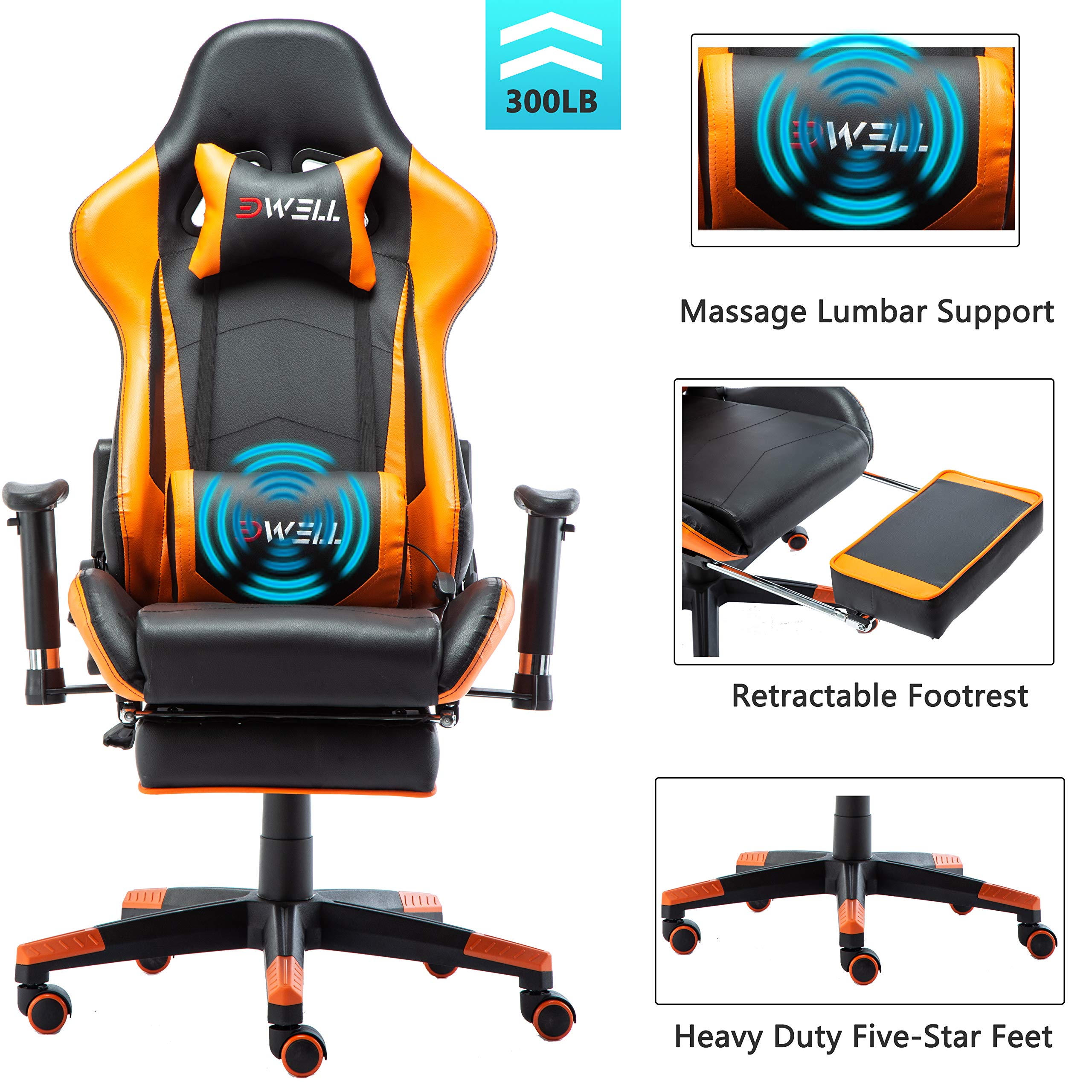 EDWELL Ergonomic Gaming Chair with Headrest and Lumbar Massage Support,Racing Style PC Computer Chair Height Adjustable Swivel with Retractable Footrest Executive Office Chair (Orange) by EDWELL