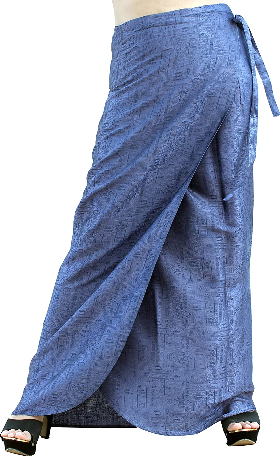 bluee Grey Raan Pah Muang Brand Thick Geometric Stamped Thai Soft Silk Formal Wrap Skirt