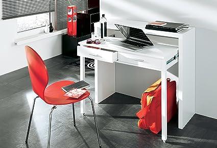 Skraut Home Scrivania Tavolo Da Lavoro Allungabile Con Console Da Ufficio Colore Bianco Lucido 98 6 X 86 9 X 36 70 Cm Amazon It Casa E Cucina