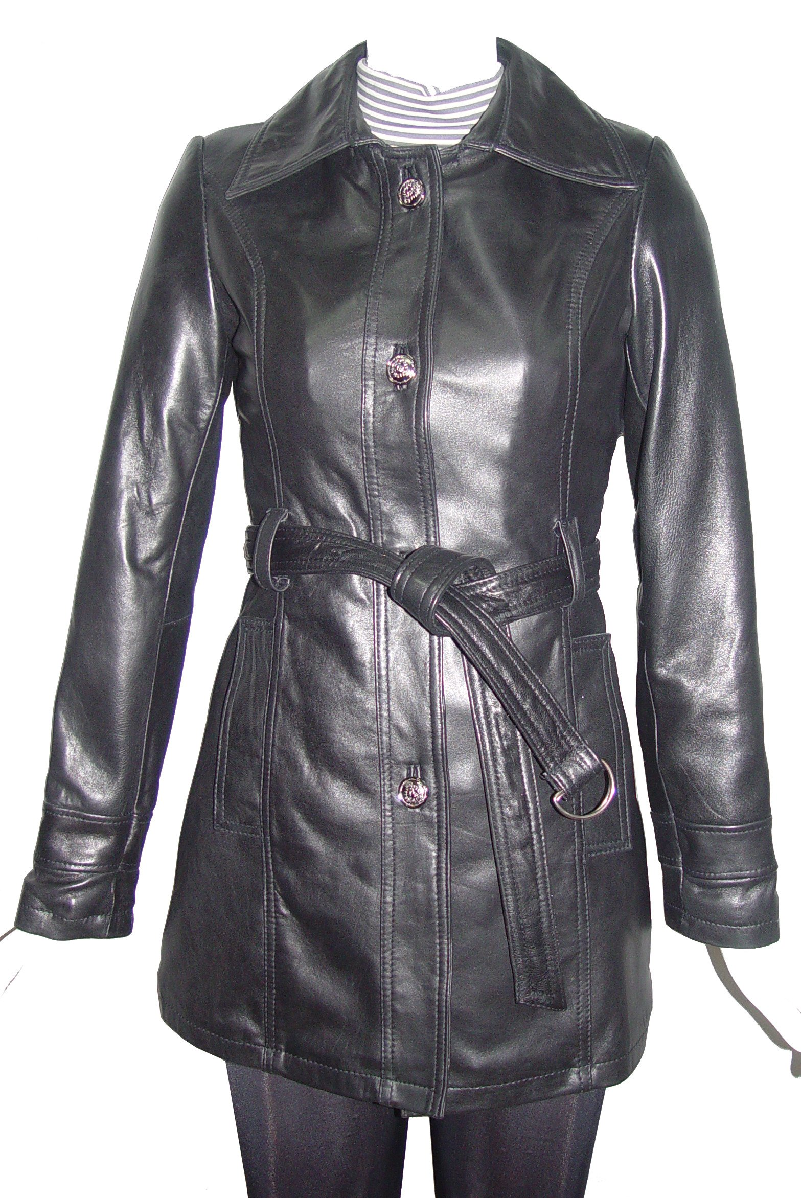 Nettailor PLUS & ALL SIZE 5022 Fine Fitted Clean Best Leather Coats Belt Women