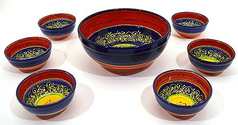 Art Escudellers Juego GAZPACHO/Bol/Cuenco en Ceramica Hecho y Pintado a Mano con