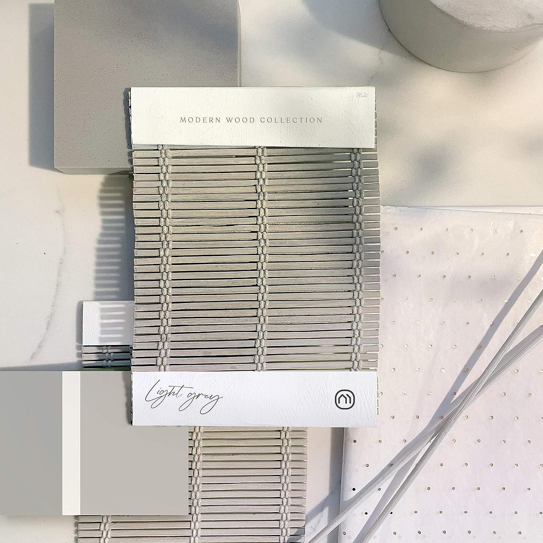 "Mood - Designer Cordless Bamboo Roman Shade | Custom-Made N. America 3 to 5 Days | 1/8"" Inch | Natural Woven Wood | Modern Light Grey | 35"