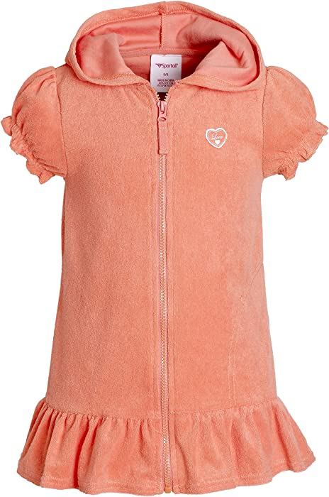 d4736477cb Beach Coverups for Girls Swimsuit Cover Up Cotton Terry Hood Swim Robe  Swimwear - Coral (