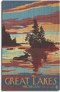 Lantern Press Great Lakes, Michigan - Moose Swimming at Sunset (10x15 Wood Wall Sign, Wall Decor Ready to Hang)