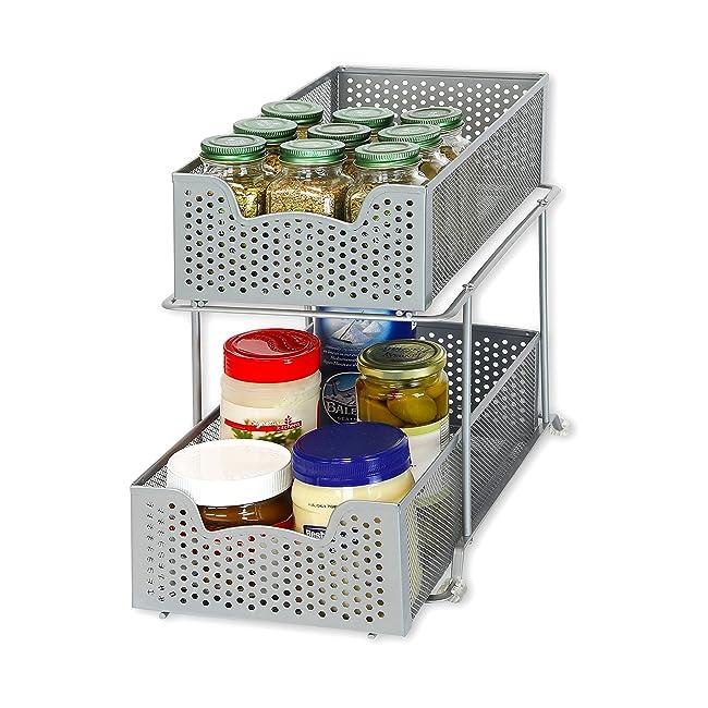 SimpleHouseware 2 Tier Sliding Cabinet Basket ...