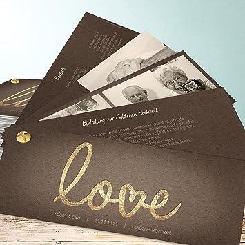 Einladung Goldene Hochzeit Muster, Pure Love 130 Karten, Kartenfächer  210x80 Inkl. Weißer Umschläge