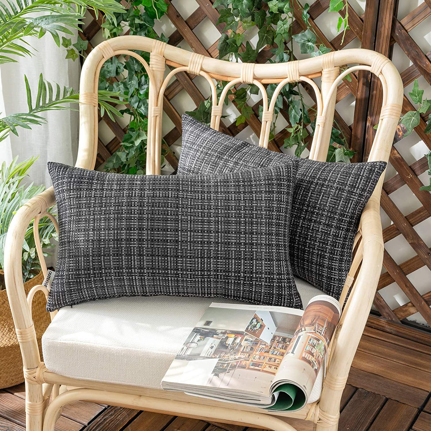 Woaboy Set of 2 Outdoor Waterproof Throw Pillow Covers Decorative Farmhouse Water Resistant Solid Cushion Cases for Patio Garden Sofa Chairs Black 12x20 inch