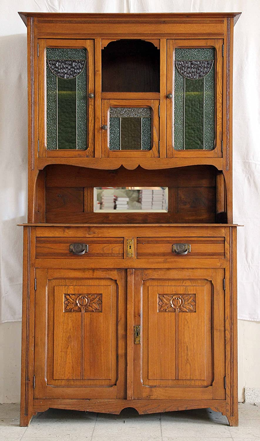 kafka antik wundersch nes seltenes antikes florales jugendstil buffet bleiverglasung 1890 jetzt. Black Bedroom Furniture Sets. Home Design Ideas