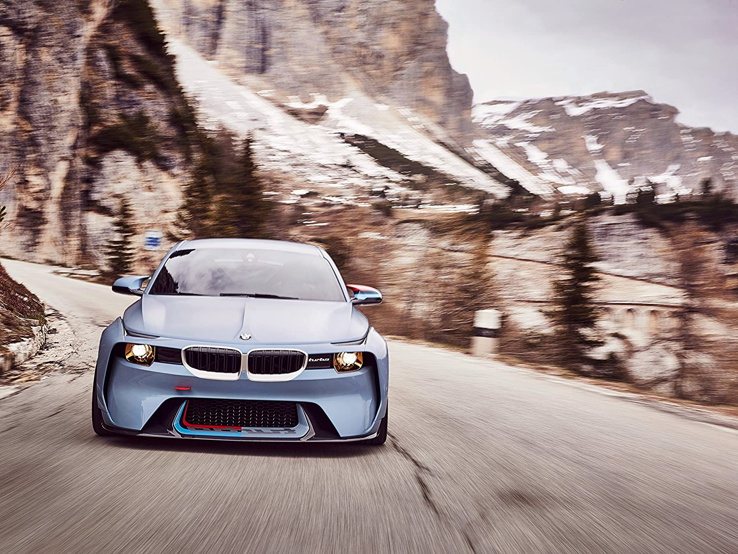 Amazon.com: BMW 2002 Hommage Concept (2016) Car Print on 10 Mil Archival Satin Paper Blue Front Side Motion View 18