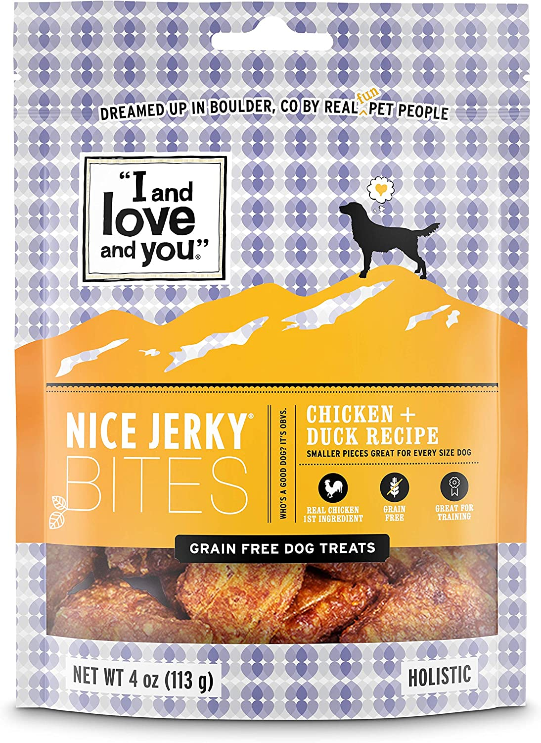 """I and love and you"" Nice Jerky Bites - Grain Free Dog Treats (Variety of Flavors)"