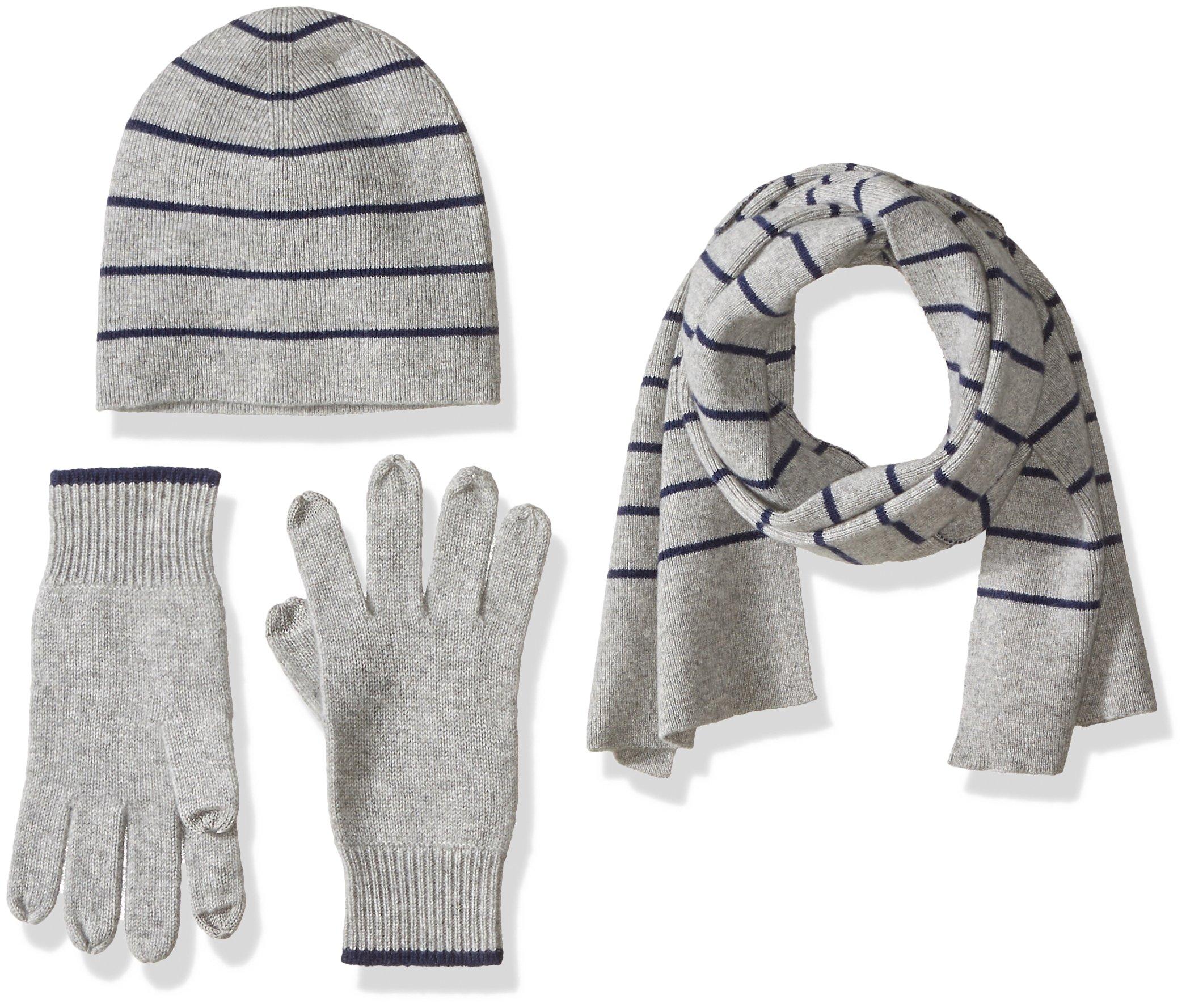 Williams Cashmere Men's 3pc Value Gift Box Set - Men's Texting Gloves, Hat, & Scarf, light grey + navy stripe, One Size