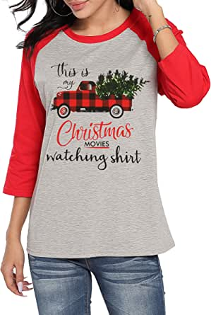 Women Funny This is My Christmas Movie Watching T Shirt Red Truck Christmas Tree Funny 3/4 Sleeve Tee Tops